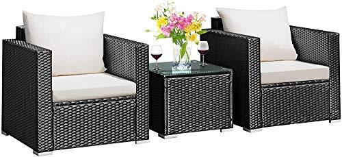 YRRA Juego de 3 piezas de muebles de patio de mimbre de ratán PE con cojín lavable y muebles de mesa de vidrio templado (mezcla gris) - negro