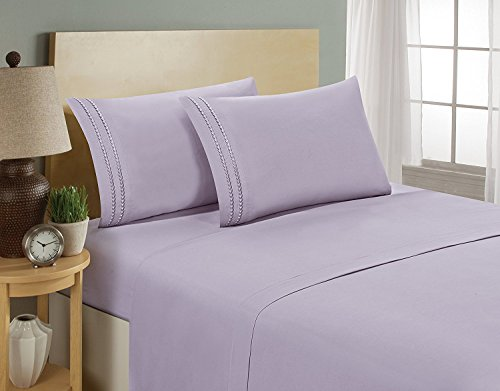 Elegant Comfort 1500 Thread Count Chain Design Egyptian Quality Luxurious Silky Soft Hypoallergenic Wrinkle & Fade Resistant 2 pc Pillow Case- King/California King, Lilac