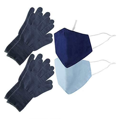Be Wise Washable & Resusable Personal Protection Face Mask, Gloves, and Touch Tool Utility Kit, Blue, 4 Pack