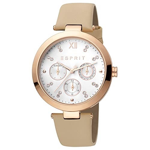 Esprit ES1L213L0025 Florine Cream Rosegold Uhr Damen-Uhr Leder-Armband Datum