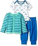 Amazon Essentials - Set con cardigan, da bambino, 3 pezzi, Boy Car, Preemie