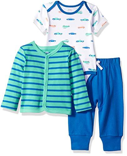 Amazon Essentials - Conjunto de 3 piezas con cárdigan para niño, Boy Car, Bebé prematuro