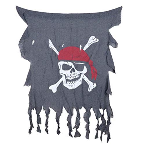 JHion Jungen Halloween Dekoration Piraten Schädel Flagge Rolle Spielen Zubehör Grau 75 * 90cm