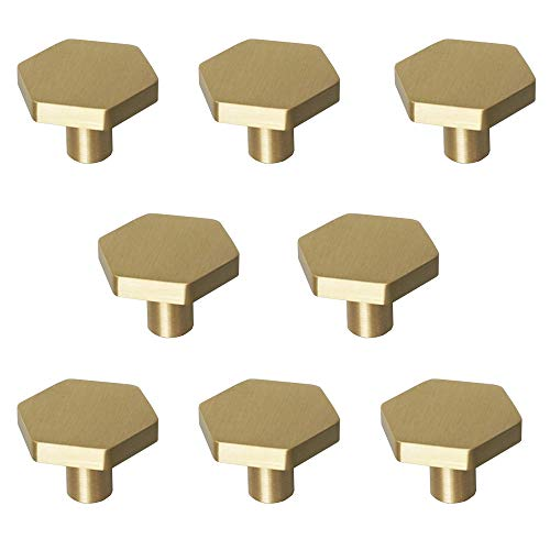 "RZDEAL 1-1/10"" Solid Brass Knobs Shoe Cabinets Knob and Pulls Brushed Gold Hexagon Handles for Dresser Drawer (8Pcs)"
