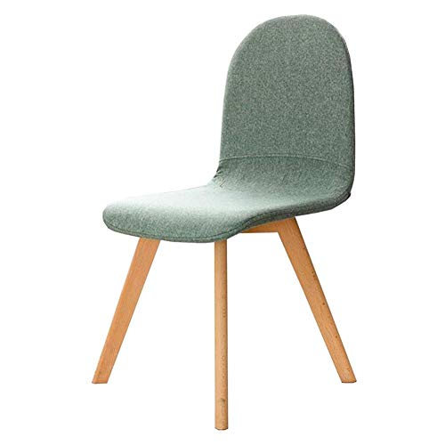 HFJKD Esszimmerstühle Wohnzimmer Freizeit Rückenlehne Stuhl Stoff Leinen Weiches Kissen Holz Beine Modern Side Chair Leicht Bauen (Farbe: beige)