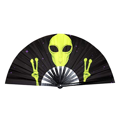 GloFX Folding Fans - Alien - Rave Festival Accessories Performance Decoration Japanese Hand Fan