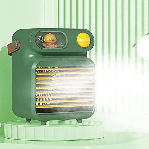 Mini refrigerador de aire, purificador de aire, ventilador de agua refrigerado por agua de dibujos animados usb, ambiente de luz del hogar humidificador de luz-verde_13 * 11 * 18cm