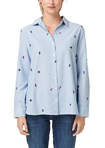 s.Oliver Damen 14.908.11.2416 Bluse, Blau (Blue Embroidery 53l0), (Herstellergröße: 46)