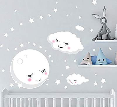 Create-A-Mural Nursery Wall Decals Baby Room Decor w/Moon Stars Clouds Wall Stickers (60) Room Decal Pieces