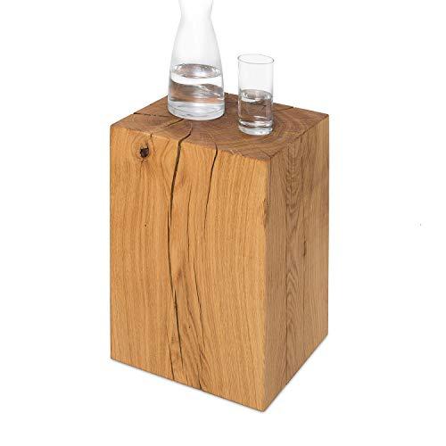 GREENHAUS Holzblock Eiche Massiv 30x30x50 cm Handarbeit und Massivholz aus Deutschland Holzklotz Hocker Beistelltisch