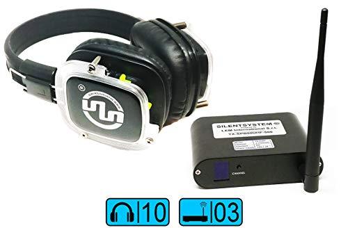 Kit de 10 x 3 unidades. Silencioso disco de fiesta. Auriculares inalámbricos de tres canales. Sistema Super Power Bass.