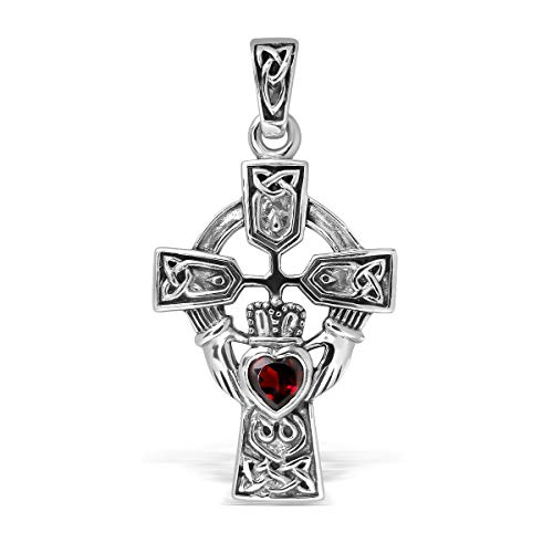 WithLoveSilver Sterling Silver 925 Celtic Cross and Claddagh Natural Garnet Heart Pendant