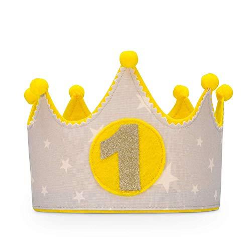 Kembilove Corona de tela para Cumpleaños Infantil de Bebé – Corona Tela Cumpleaños – Corona Cumpleaños Infantil – Corona Primer Cumpleaños – Corona Niño y Niña – Corona estrellas amarillo y gris
