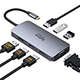 USB C to Dual HDMI Hub,7 in 1 USB C Docking Station to Dual HDMI Displayport VGA Adapter,USB C to 3USB 2.0, Multi Monitor Adapter for Dell XPS 13 15,Lenovo Yoga,Huawei Matebook X pro,etc