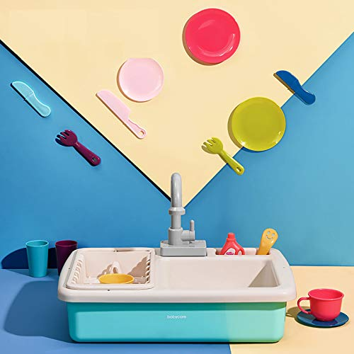 GAOXIAOMEI Juego de Juguetes para Fregadero de Cocina para niños, Regalos educativos, Juguete de simulación para niños, niñas, lavavajillas de simulación, Agua Corriente, Grifo y desagüe