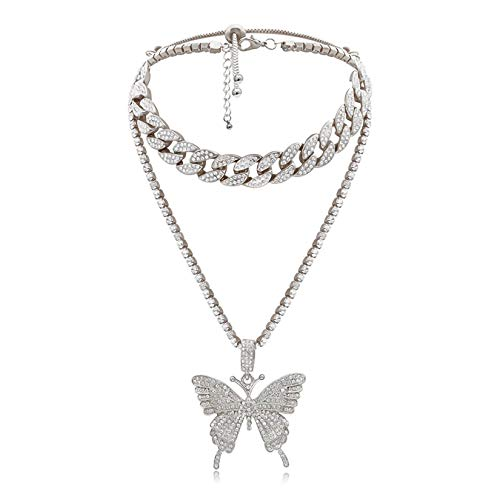 Cinsionze Women's Big Butterfly Pendant Necklace Silver Golden Plated Rhinestone Cubic Zirconia Embedded Cuban Chains Necklace Luxury Fashion Jewelry Birthday Christmas Gifts for Women Girls (Silver)