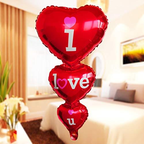 ARTIFUN Cadena Corazón Amor Película de Aluminio Día de San Valentín Globo Decoración de la Sala de Bodas Rojo