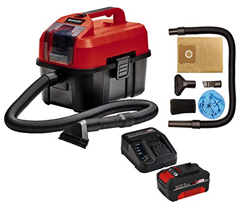 Einhell Aspirador seco-húmedo, Rojo, Negro + Kit cargador con batería (18 V, 3.0 Ah, tiempo de carga de 60 minutos)