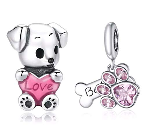 Marni's - 2 Charms Pandora Style Perro Cachorro con Corazón y Huella Rosa | Regalos originales para mujer | Colgantes plata de ley | Compatibles Pulsera Pandora Charm Plata | Regalos madres o novia