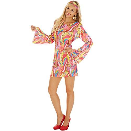 TecTake dressforfun Disfraz de Hippie para Mujer | Vestido Colorido | Incl. Cinta para el Pelo Muy Estilosa y Elegante (L | No. 300919)