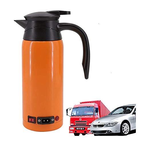 800 ML voiture Voyage bouilloire, chauffe-biberon Pot allume-cigare chauffage bouilloire électrique tasse thermos en acier inoxydable potable tasse de café orange Universal 12V / 24V thé lait bouillan