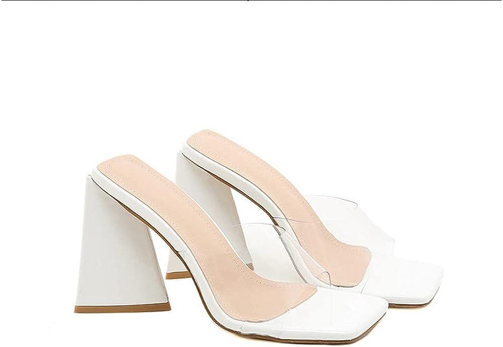 MissHeel Square Toe Sandals Chunky Mules Slip On PVC
