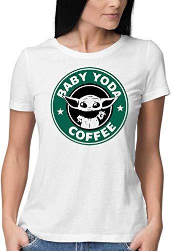 Sartamke Baby Yoda koffie ronde hals vrouwen T-Shirt