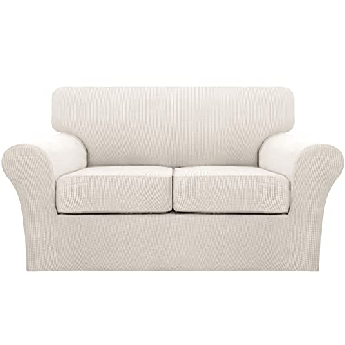 Turquoize 3 Piece Loveseat Cover Stretch Couch Covers for 2 Cushion Couch Sofa Covers for Living Room Loveseat Slipcovers with 2 Individual Cushion Covers, Thick Soft Fabric (Medium, Ivory)