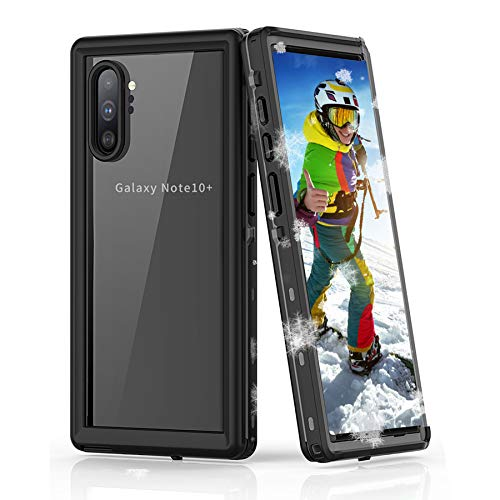 SenMore Funda Impermeable para Galaxy Note 10 Plus, [IP68] Funda Protectora Impermeable de Cuerpo Completo con Película Sensible al Tacto/Protectora Funda para Galaxy Note 10 Plus (Note 10+, Negro)