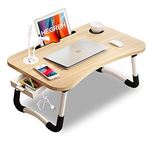 Hegreh Lap Desk for Bed Fits up to 17″ Laptops with Storage Drawer,Lamp,Tablet/Cup Holder, Laptop Bed Tray Table, 23.6' Foldable Laptop Desk, Laptop Stand for Working, Writing,Reading and Breakfast
