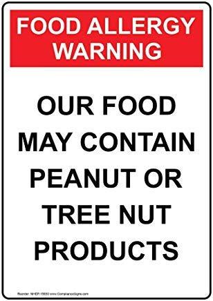 Wendana Verticale Voedselallergie Waarschuwing Ons Voedsel Kan Bevat Teken, Grappige Wanring Tekenen, Poortteken, Vandaar Yard Sign,8