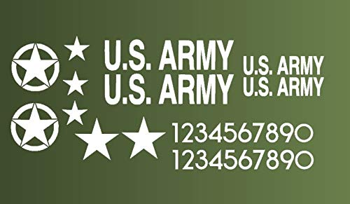 Generic RC Panzer 1/16 Decals in weiß Aufkleber USA Army Modellbau Thank 1:16 (56/8) (weiß matt)