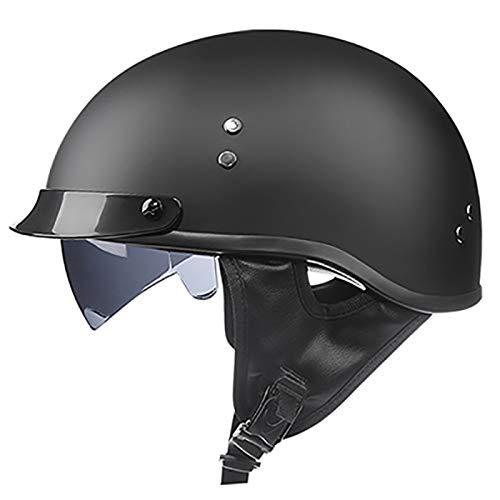 DJCALA Motorrad Halbhelme Brain-Cap · Halbschale Jet-Helm Roller-Helm ECE-Zertifizierung Scooter-Helm Mofa-Helm Retro Motorrad Half Helm mit Built-in Visier für Cruiser Chopper Biker