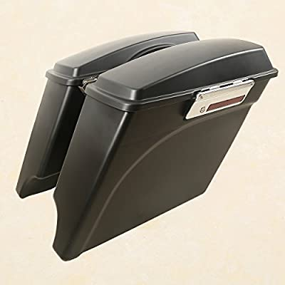 """XMT-MOTO 5"""" Matte Black Stretched Extended Hard Saddlebags For 1993-2013 Harley Touring Models FLT,FLHT,FLHTCU,FLHRC,Road King,Road Glide,Street Glide,Electra Glide,Ultra-Classic from XMT-MOTO Motorcycle Parts"""