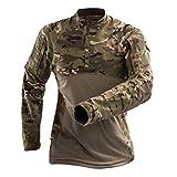 YuanDian Uomo Camouflage Maglietta Tattico Militare T Shirt Manica Lunga All'aperto Elastico Frog Suit Esercito Militari Abbigliamento Caccia Traspirante Cerniera Collare Top Camicia CP XL