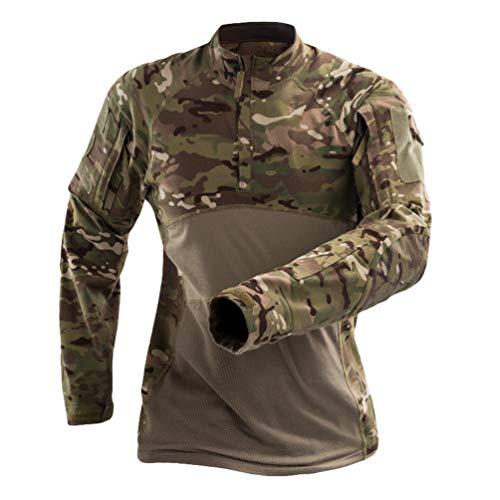 YuanDian Herren Camouflage Militär Tactical T Shirt Langarm Outdoor Elastic Frog Anzug Combat Armee Jagd Bluse Camo Military Tarnmuster Atmungsaktiv Reißverschluss Kragen Top Hemd CP 2XL