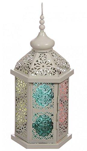 Marrokanische Laterne Creme mit buntem Glas