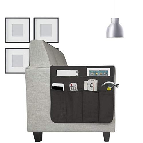 Sofa Armlehne Organizer Betttasche Baumwolle Couch Stuhl Aufbewahrungstasche Anti-Rutsch Nachttisch Tasche Sofa-Bett Hängeaufbewahrung für Buch, Zeitschriften, Handy, Fernbedienung