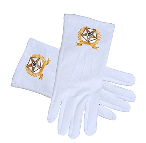 OES Star Face Cotton Gloves - White with Golden Laurel Design (One Size Fits Most) - Order of The Eastern Star Regalia, Clothing and Formal Attire. (One Size Fits Most)