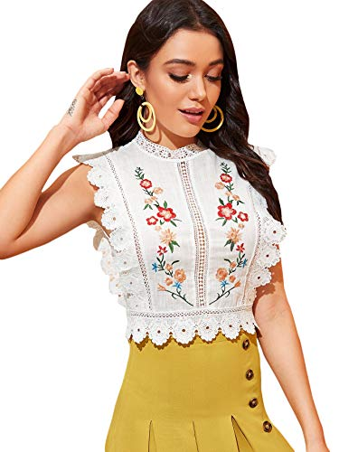 Floerns Women's Mock Neck Guipure Lace Trim Embroidery Blouse Tops White S