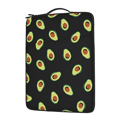 Pnnuo 13' 14' 15.6' Inch Laptop Sleeve Fruit Avocados Carrying Bag, Compatible with Apple MacBook Air Notebook Computer, Waterproof Shock Resistant Protective Case with Pocket