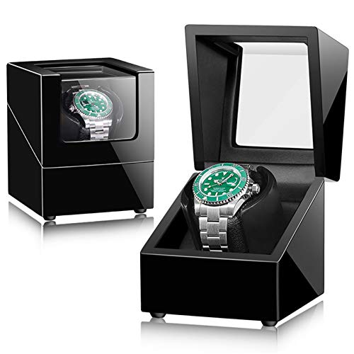 AFYH Cajas giratorias para Relojes, Automático Watch Winder Cajas Caja de Reloj mecánico de Cuerda automática de Cuero PU con Motor silencioso, Vitrina de Almacenamiento con balancín para 1 Reloj,8