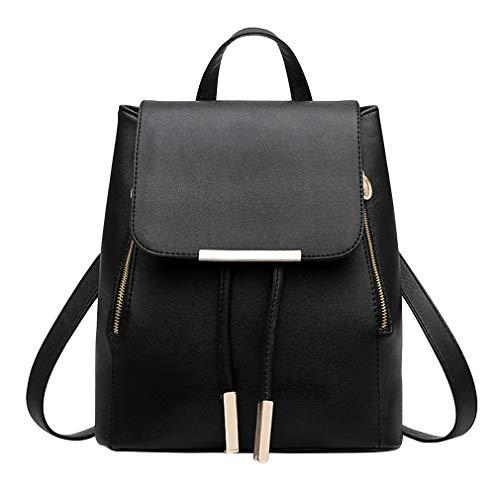 Pahajim Rucksack Handtaschen Damen Daypack Schultertasche Schulrucksack Backpack PU Waterproof Anti Diebstahl Tasche für Schule Reise Arbeit(Schwarz)