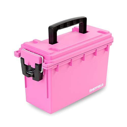 Sheffield 12631 Storage Box | Great for Arts & Crafts Supplies, Small Toy Storage or Most Anything| Safe & Tamper-Proof with 3 Locking Options | Stackable & Water Resistant | Pink | U.S.A. Made