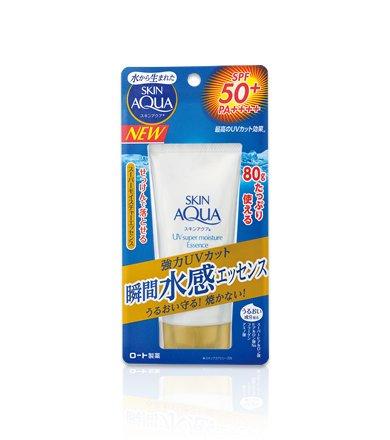 Skin Aqua Rohto New Sunscreen Super Moisture Essence SPF50+/PA+++ 80g (Green Tea Set)