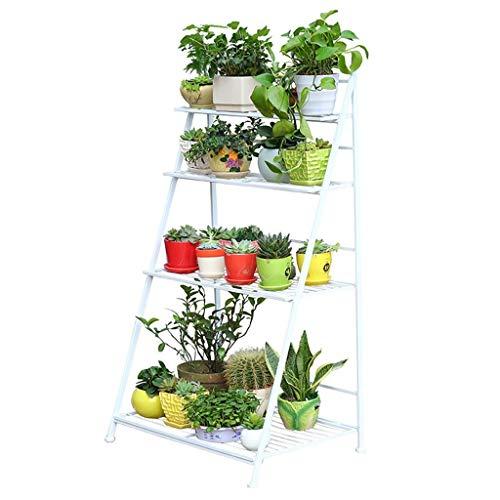 Multi-Purpose Smeedijzeren Bloem Planter Display Chassis Plank Beugel Balkon Vloergemonteerde Basin Display Indoor En Outdoor Multi-Layer Ladder Bloemenstandaard, Mooie En Praktische