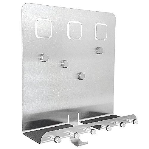 COM-FOUR® Edelstahl Schlüsselleiste mit Ablage und Magnetwand