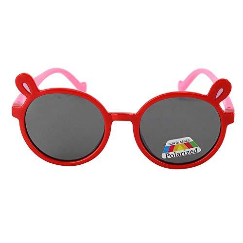 Lunettes de soleil bébé, mode enfants cadre en gel de silice lunettes de soleil dessin animé silicone lunettes photographie Prop cadeau pour bébés garçons et filles 2 3 4 5 ans(rouge)
