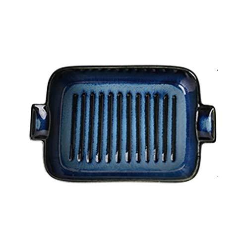 Bandejas Horno para Horno y microondas Plato de horno de cerámica, plato de senderos, plato para hornear rectangular, bandeja de hornear de cerámica, platos de cocina para horno ( Color : F-1 )