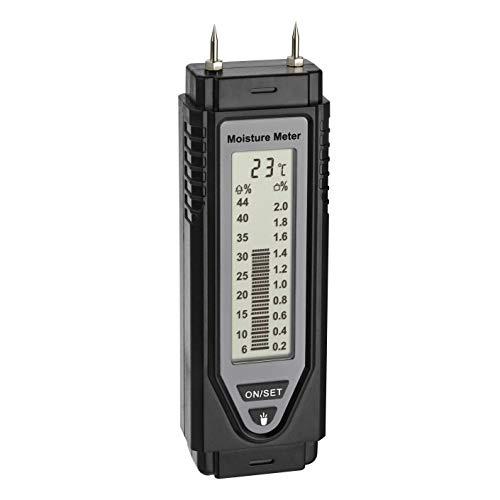TFA Dostmann Materialfeuchtemessgerät, 30.5506.01, Holz-und Baufeuchtemessung, mit Temperaturanzeige, Schutzkappe, schwarz